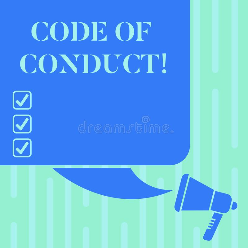 Word writing text Code Of Conduct. Business concept for Ethics rules moral codes ethical principles values respect Color. Silhouette of Blank Square Speech stock illustration