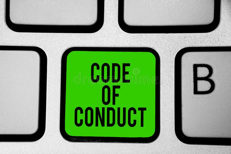 Word writing text Code Of Conduct. Business concept for Ethics rules moral codes ethical principles values respect Keyboard green. Key Intention create computer royalty free stock photo