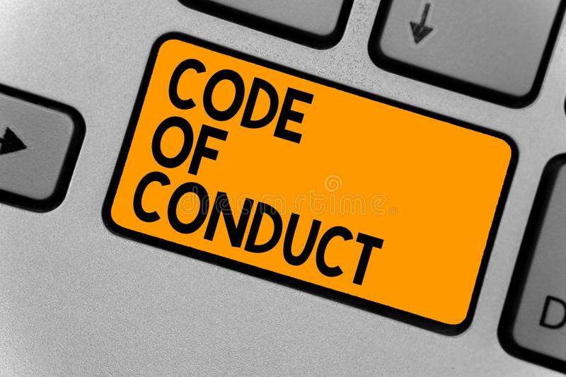 Word writing text Code Of Conduct. Business concept for Ethics rules moral codes ethical principles values respect Keyboard orange stock image