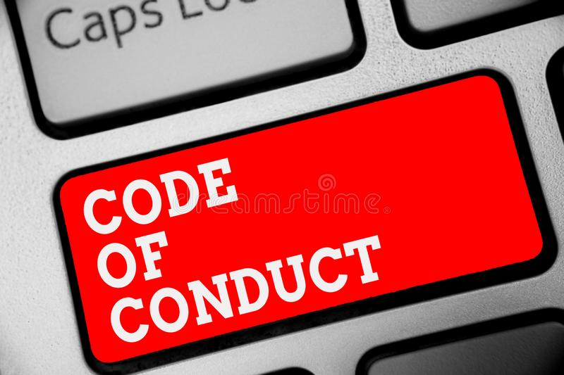 Word writing text Code Of Conduct. Business concept for Ethics rules moral codes ethical principles values respect Keyboard red ke. Y Intention create computer stock photography