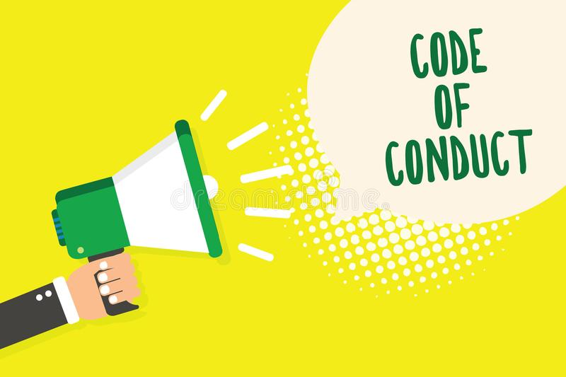Word writing text Code Of Conduct. Business concept for Ethics rules moral codes ethical principles values respect Man holding meg. Aphone loudspeaker speech vector illustration