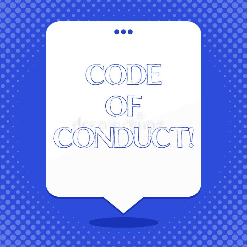 Word writing text Code Of Conduct. Business concept for Follow principles and standards for business integrity Blank. Word writing text Code Of Conduct. Business vector illustration