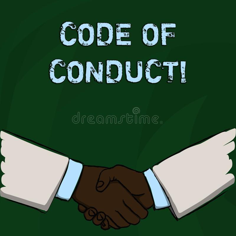 Word writing text Code Of Conduct. Business concept for Follow principles and standards for business integrity. Word writing text Code Of Conduct. Business photo royalty free illustration