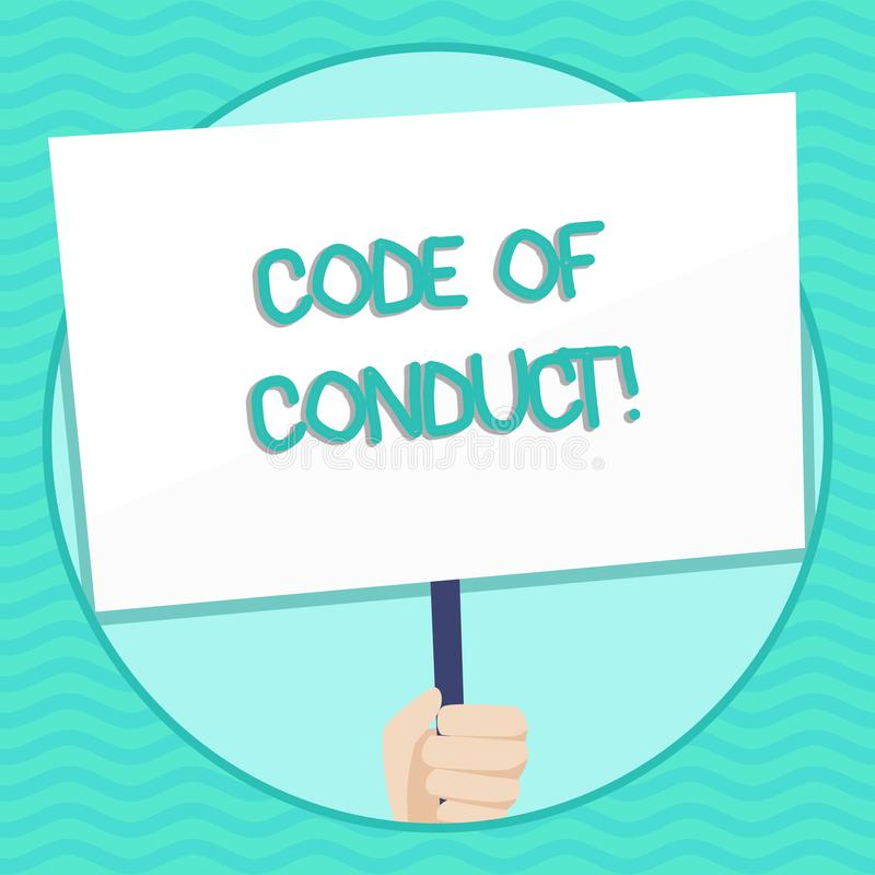 Word writing text Code Of Conduct. Business concept for Follow principles and standards for business integrity Hand. Word writing text Code Of Conduct. Business royalty free illustration