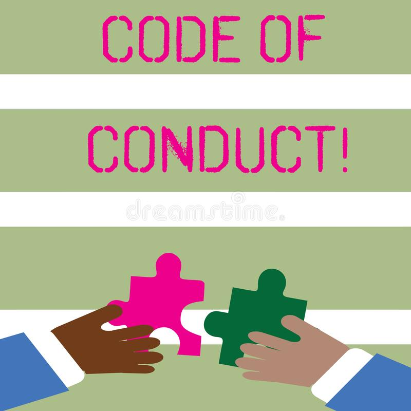 Word writing text Code Of Conduct. Business concept for Follow principles and standards for business integrity Two Hands. Word writing text Code Of Conduct vector illustration