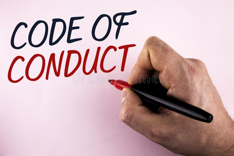 Word writing text Code Of Conduct. Business concept for Follow principles and standards for business integrity written by Man hold stock images