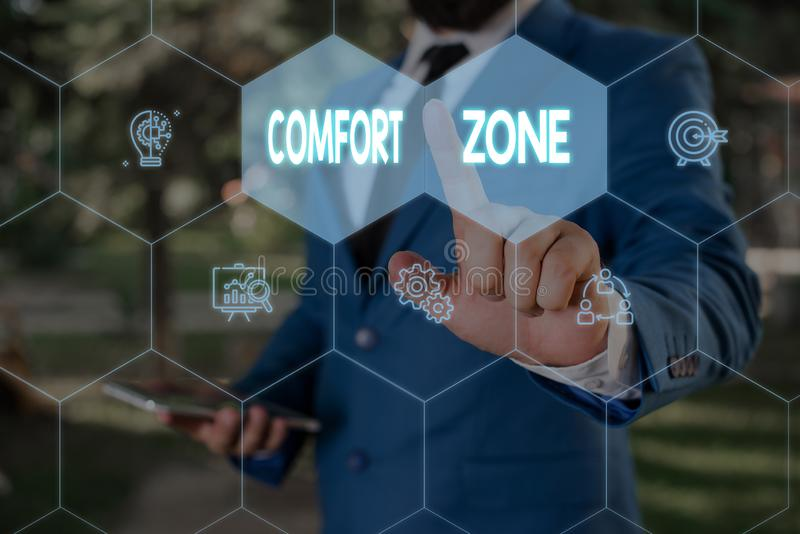 Word writing text Comfort Zone. Business concept for A situation where one feels safe or at ease have Control Male human. Word writing text Comfort Zone stock photos