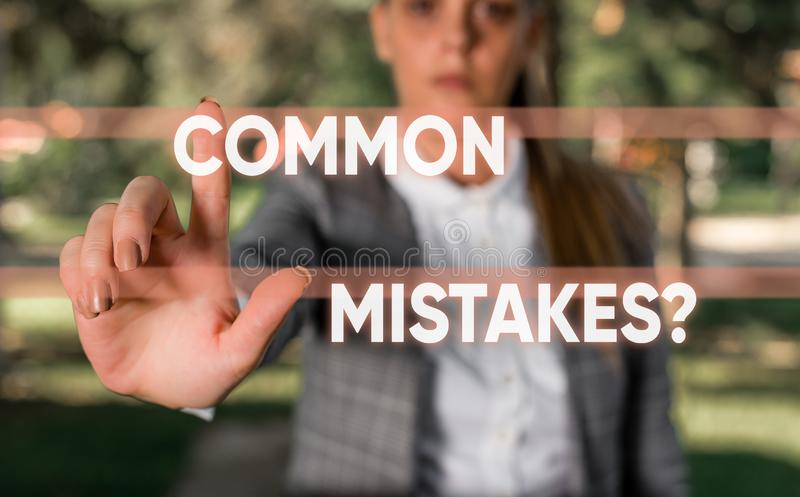 Word writing text Common Mistakes Question. Business concept for repeat act or judgement misguided making something. Word writing text Common Mistakes Question royalty free stock image