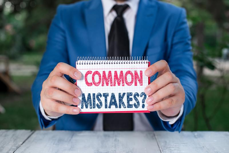 Word writing text Common Mistakes Question. Business concept for repeat act or judgement misguided making something. Word writing text Common Mistakes Question stock photos