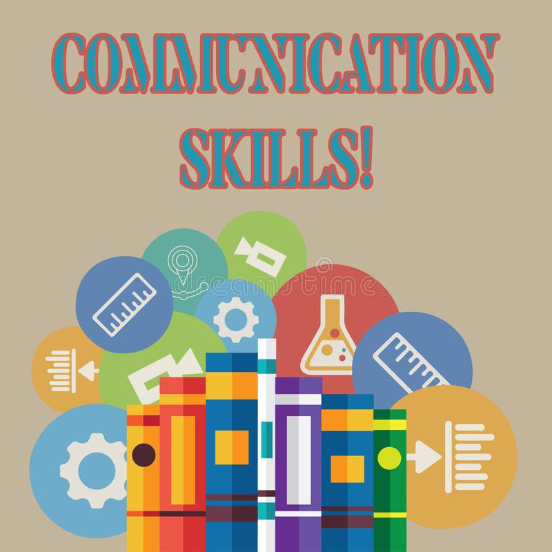 Word writing text Communication Skills. Business concept for ability to convey information to another effectively Books. Word writing text Communication Skills stock illustration