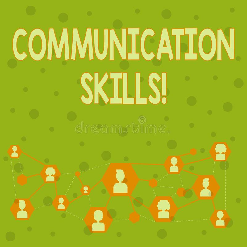Word writing text Communication Skills. Business concept for ability to convey information to another effectively Online. Word writing text Communication Skills royalty free illustration