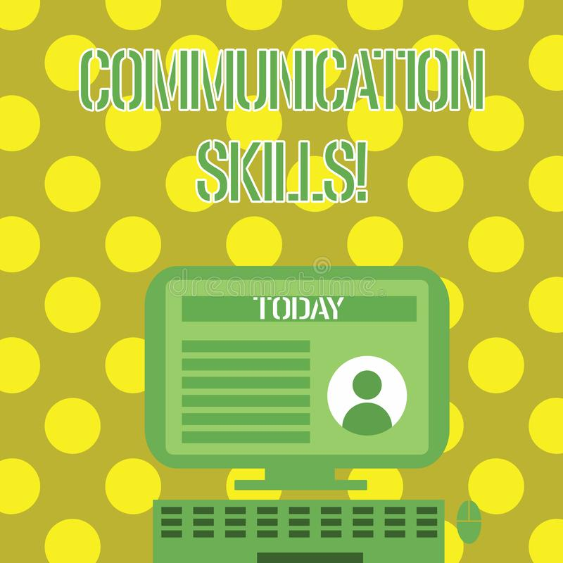 Word writing text Communication Skills. Business concept for ability to convey information to another effectively. Word writing text Communication Skills stock illustration