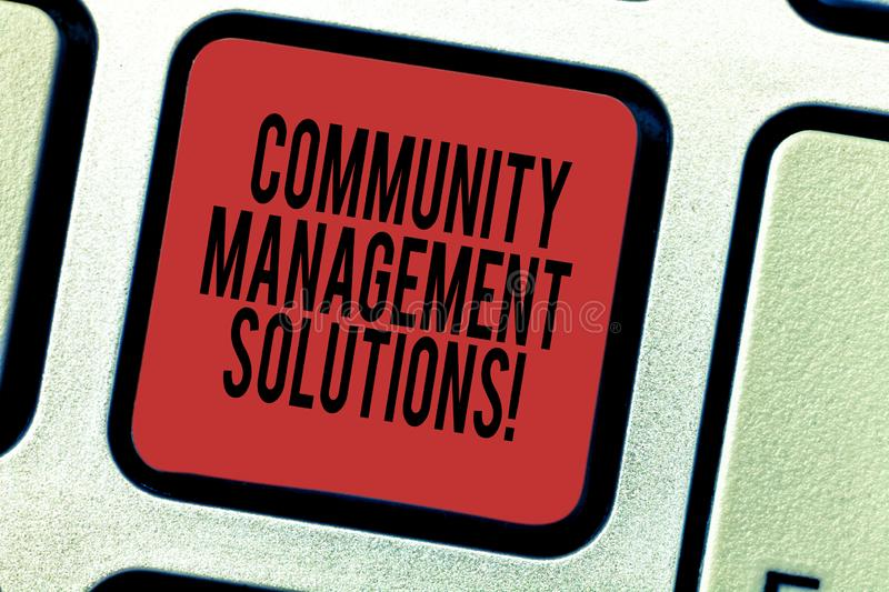 Word writing text Community Management Solutions. Business concept for Manage and engage the community of your brand. Keyboard key Intention to create computer royalty free stock photo