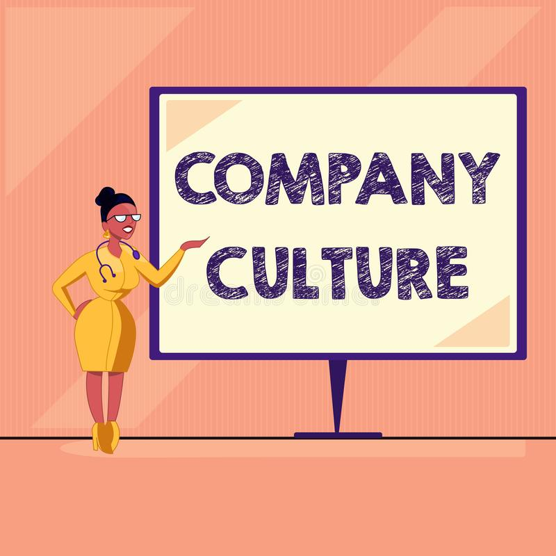 Word writing text Company Culture. Business concept for The environment and elements in which employees work.  stock illustration