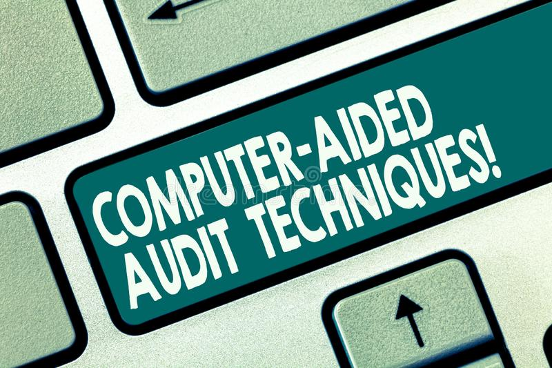 Word writing text Computer Aided Audit Techniques. Business concept for Using computer to automate IT audit process Keyboard key royalty free illustration