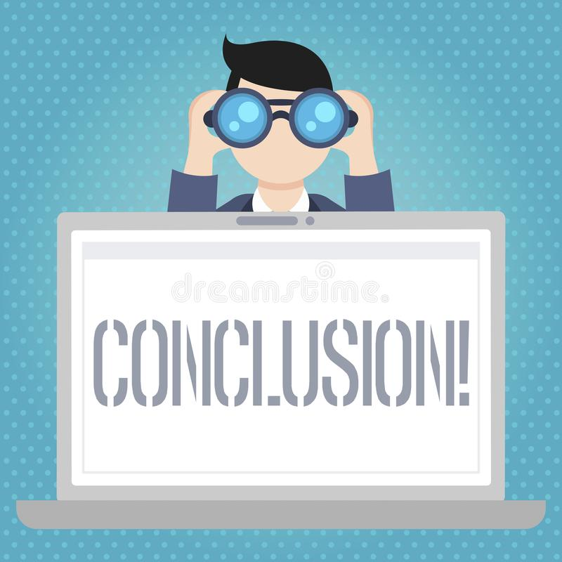 Word writing text Conclusion. Business concept for Results analysis Final decision End of an event or process. Word writing text Conclusion. Business photo royalty free illustration