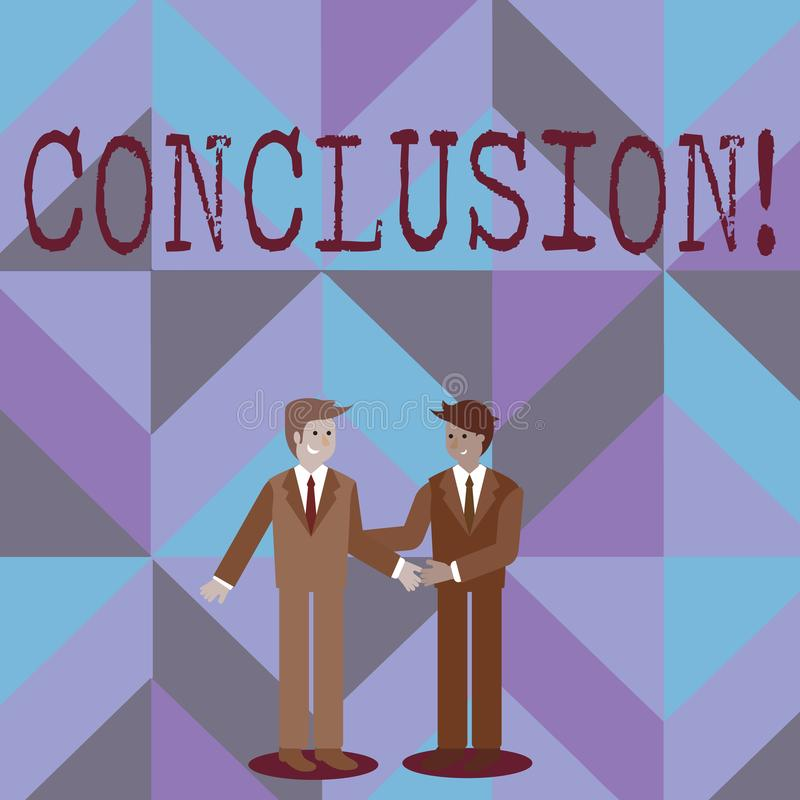Word writing text Conclusion. Business concept for Results analysis Final decision End of an event or process. Word writing text Conclusion. Business photo vector illustration