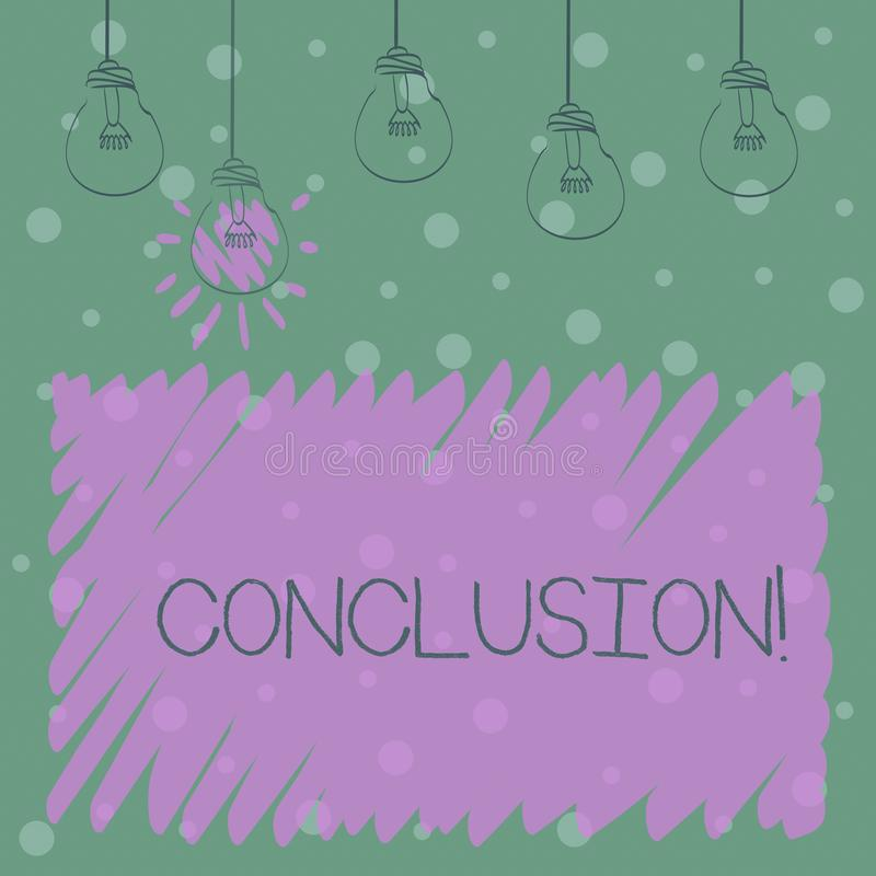 Word writing text Conclusion. Business concept for Results analysis Final decision End of an event or process. Word writing text Conclusion. Business photo stock illustration