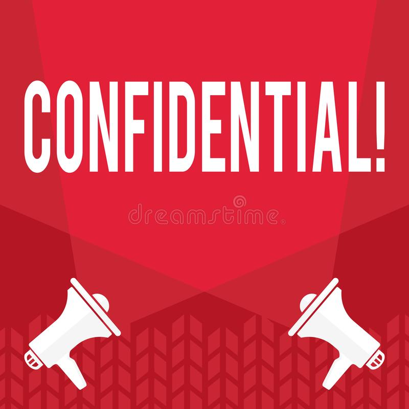 Word writing text Confidential. Business concept for Agreements between two parties are private and protected. Word writing text Confidential. Business concept stock illustration