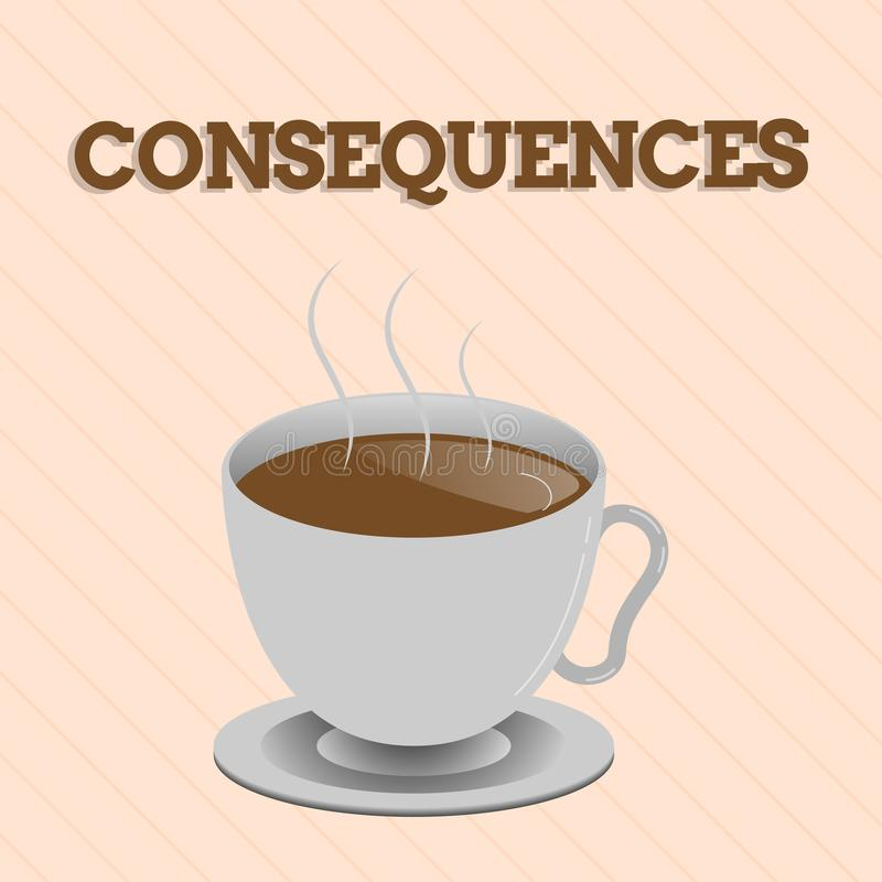 Word writing text Consequences. Business concept for Effect result or outcome of something occurring earlier.  vector illustration