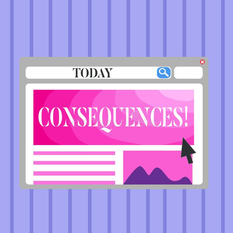 Word writing text Consequences. Business concept for Result Outcome Output Upshot Difficulty Ramification Conclusion. Word writing text Consequences. Business royalty free illustration