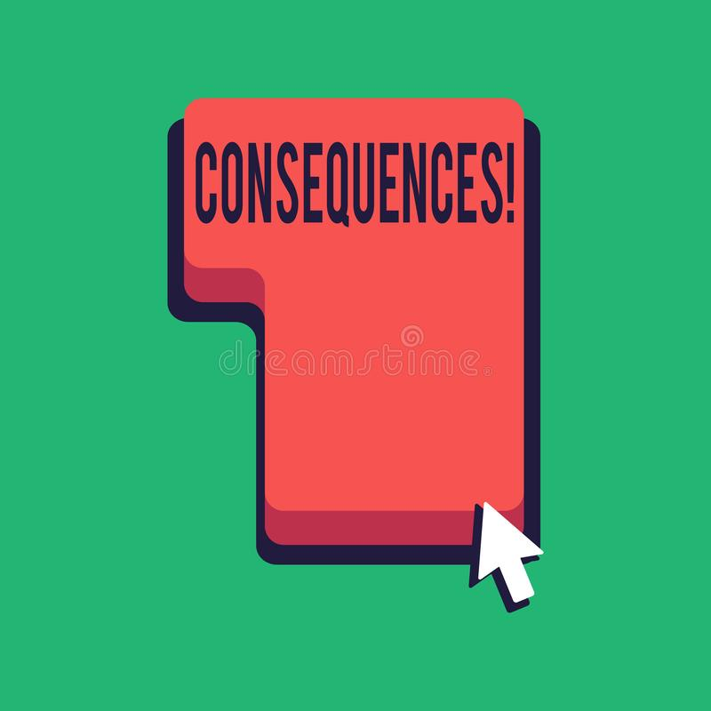 Word writing text Consequences. Business concept for Result Outcome Output Upshot Difficulty Ramification Conclusion. Word writing text Consequences. Business vector illustration