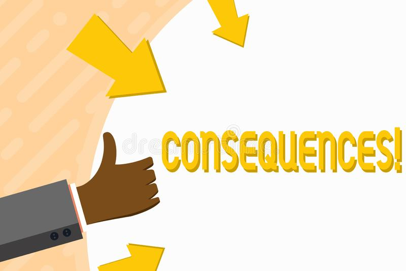 Word writing text Consequences. Business concept for Result Outcome Output Upshot Difficulty Ramification Conclusion. Word writing text Consequences. Business stock illustration