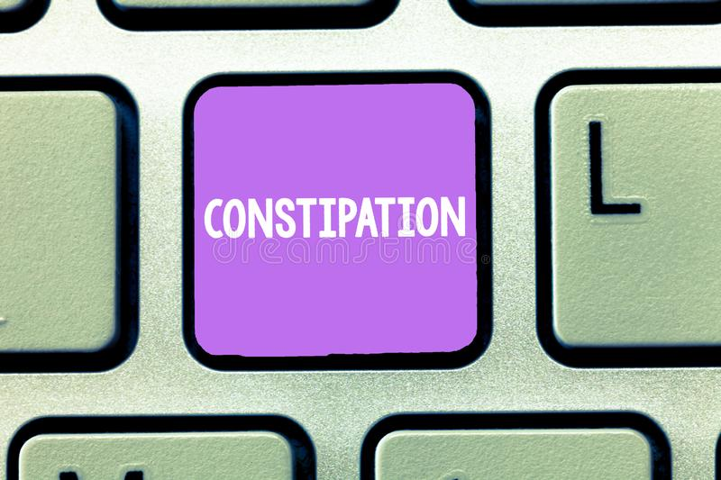 Word writing text Constipation. Business concept for Bowel movements that are erratic Trouble in clearing the bowels.  royalty free stock photography