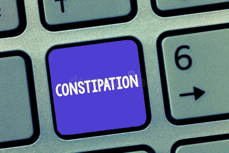 Word writing text Constipation. Business concept for Bowel movements that are erratic Trouble in clearing the bowels.  royalty free stock images