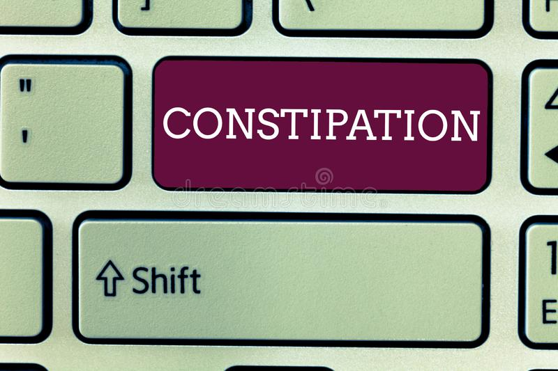 Word writing text Constipation. Business concept for Bowel movements that are erratic Trouble in clearing the bowels.  stock photography