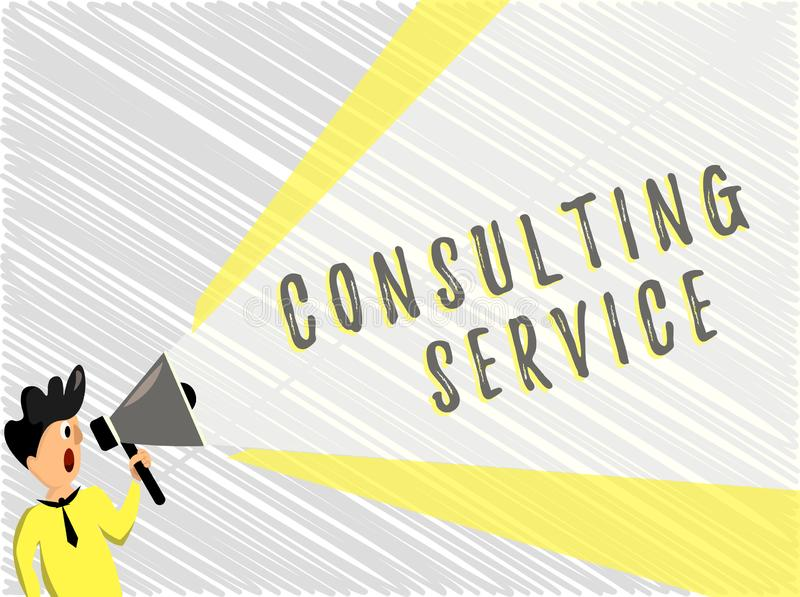 Word writing text Consulting Service. Business concept for Experts that offers knowledge to a third party for a fee.  stock illustration