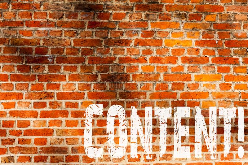 Word writing text Content. Business concept for Website containing exclusive and containing rich information Brick Wall art like. Graffiti motivational call stock images