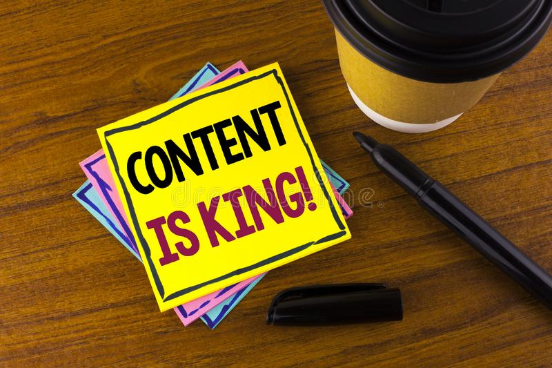 Word writing text Content Is King Motivational Call. Business concept for Strategy online internet digital seo written on Sticky N. Word writing text Content Is stock images