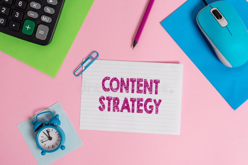 Word writing text Content Strategy. Business concept for create marketing plan using good photos and words Mouse. Word writing text Content Strategy. Business royalty free stock photography