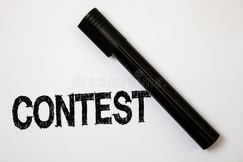 Word writing text Contest. Business concept for Game Tournament Competition Event Trial Conquest Battle Struggle Ideas messages wh. Ite background black marker stock images