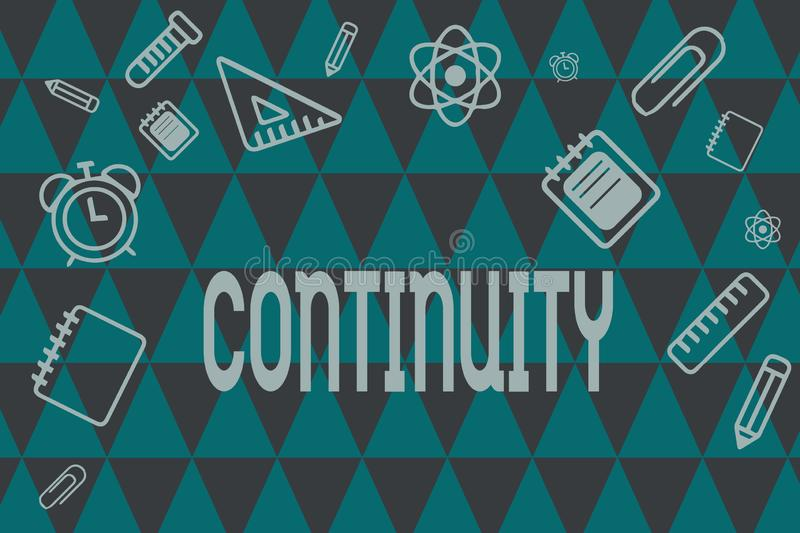 Word writing text Continuity. Business concept for Unbroken consistent existence operation of something over time.  vector illustration