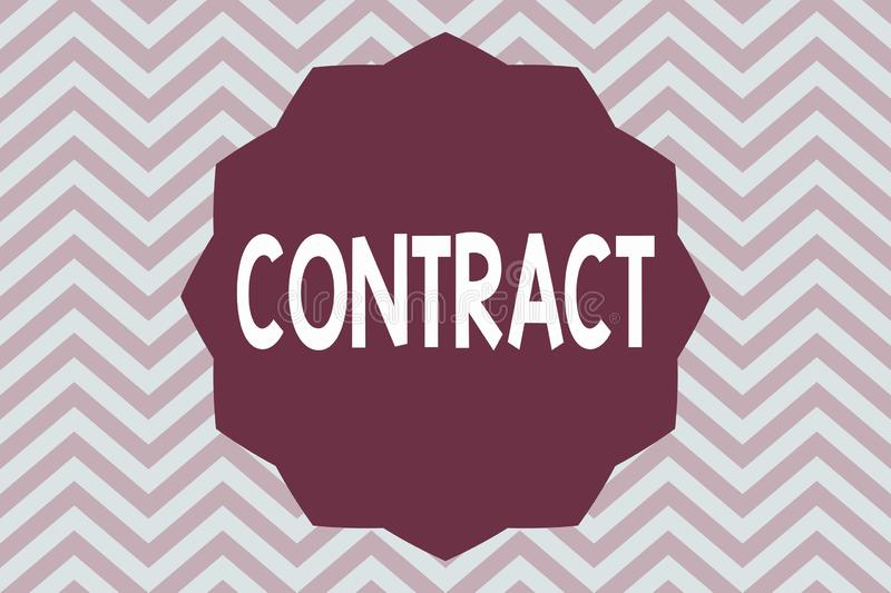 Word writing text Contract. Business concept for written or spoken agreement especially one concerning employment.  royalty free illustration