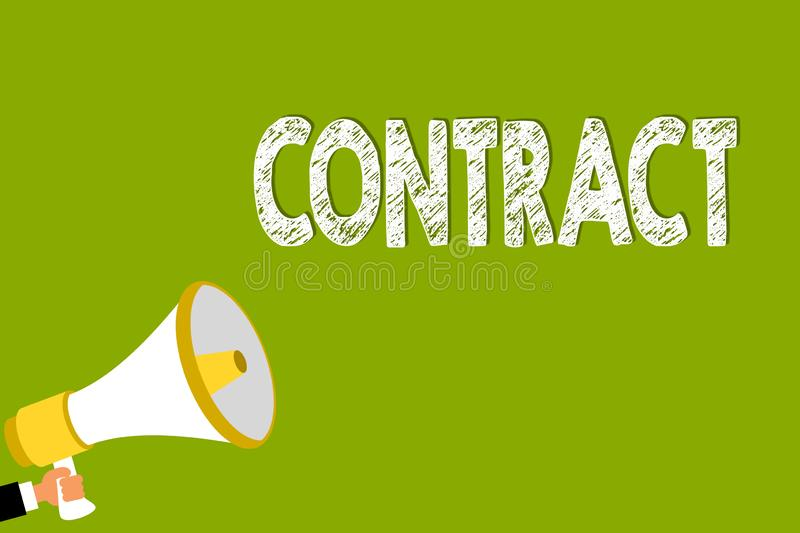 Word writing text Contract. Business concept for written or spoken agreement especially one concerning employment Man. Holding megaphone loudspeaker green vector illustration