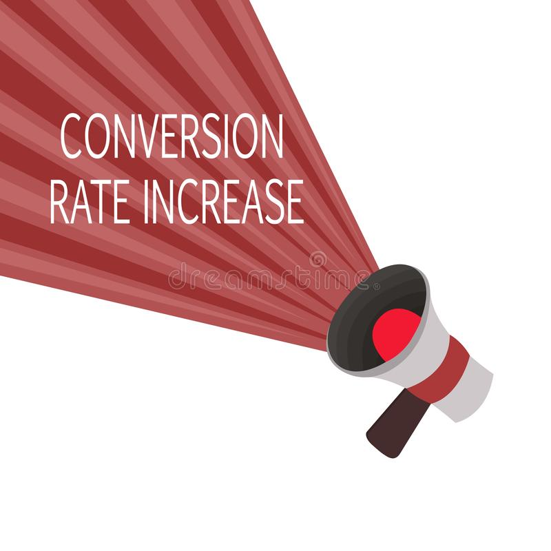 Word writing text Conversion Rate Increase. Business concept for Ratio of Total Visitors who perform desired actions.  stock illustration