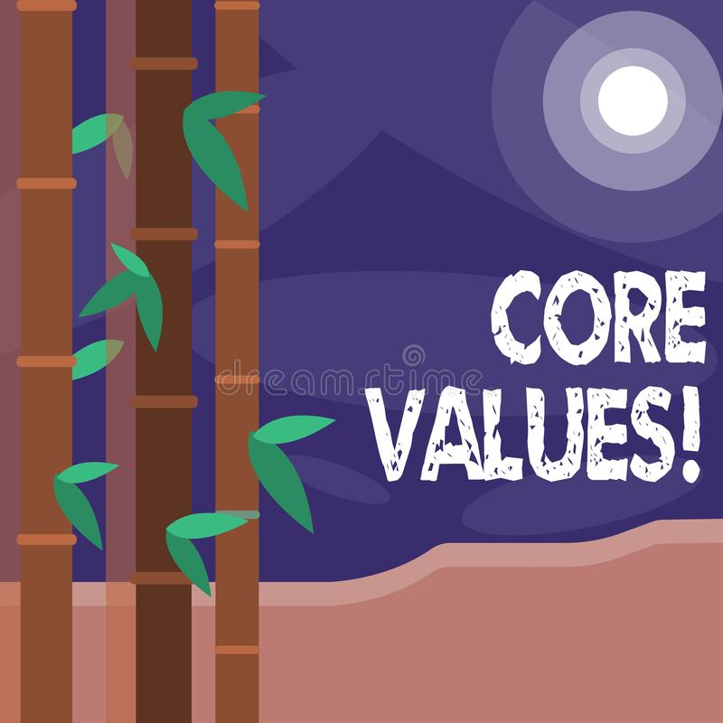 Word writing text Core Values. Business concept for principle that demonstrating views as being central importance. Word writing text Core Values. Business photo royalty free illustration
