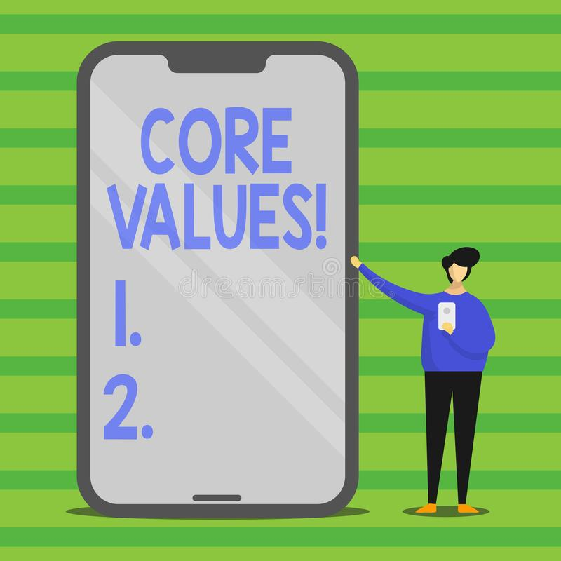 Word writing text Core Values. Business concept for principle that demonstrating views as being central importance Man. Word writing text Core Values. Business royalty free illustration