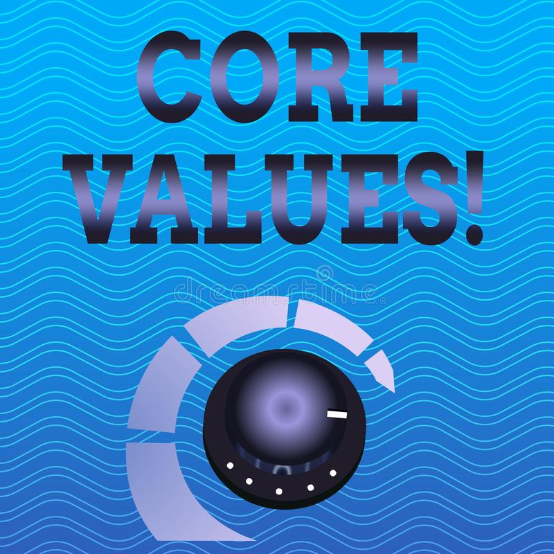 Word writing text Core Values. Business concept for principle that demonstrating views as being central importance. Word writing text Core Values. Business photo vector illustration