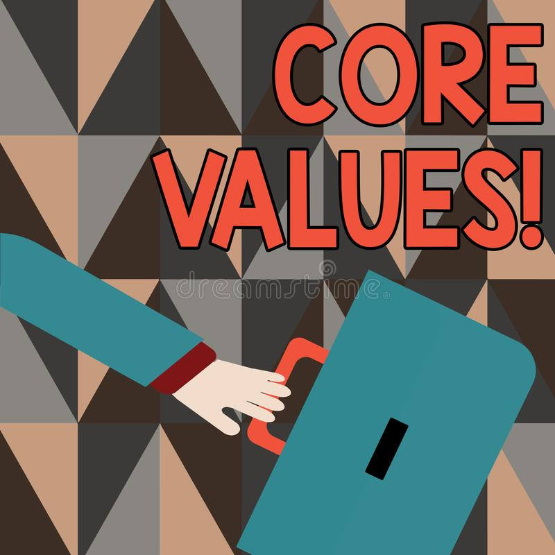 Word writing text Core Values. Business concept for principle that demonstrating views as being central importance. Word writing text Core Values. Business photo stock illustration