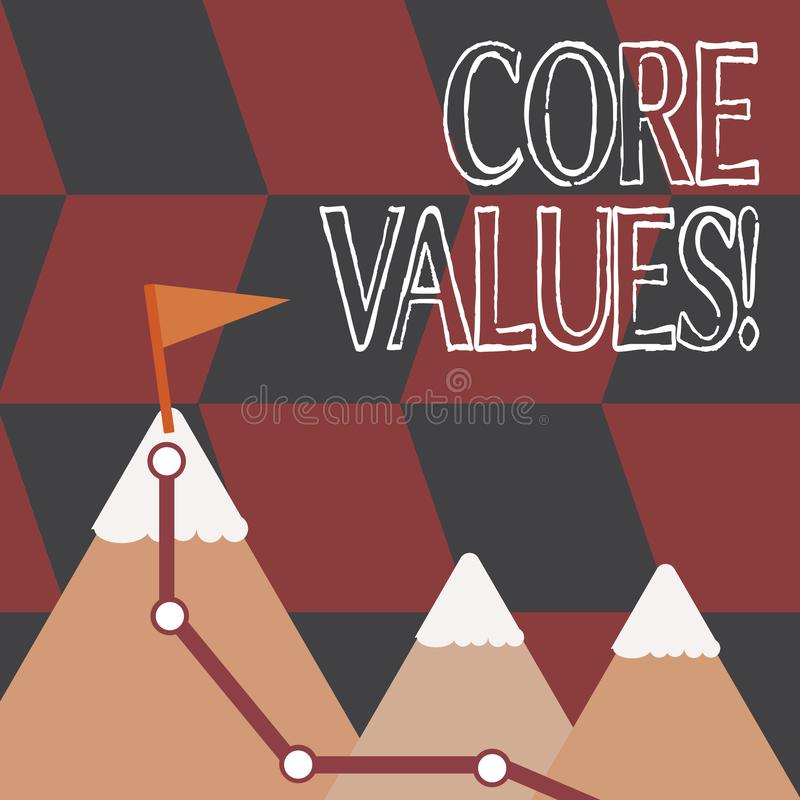 Word writing text Core Values. Business concept for principle that demonstrating views as being central importance Three. Word writing text Core Values. Business vector illustration