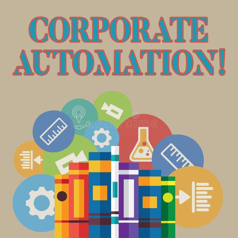 Word writing text Corporate Automation. Business concept for automating key processes through computing technology Books. Word writing text Corporate Automation royalty free illustration