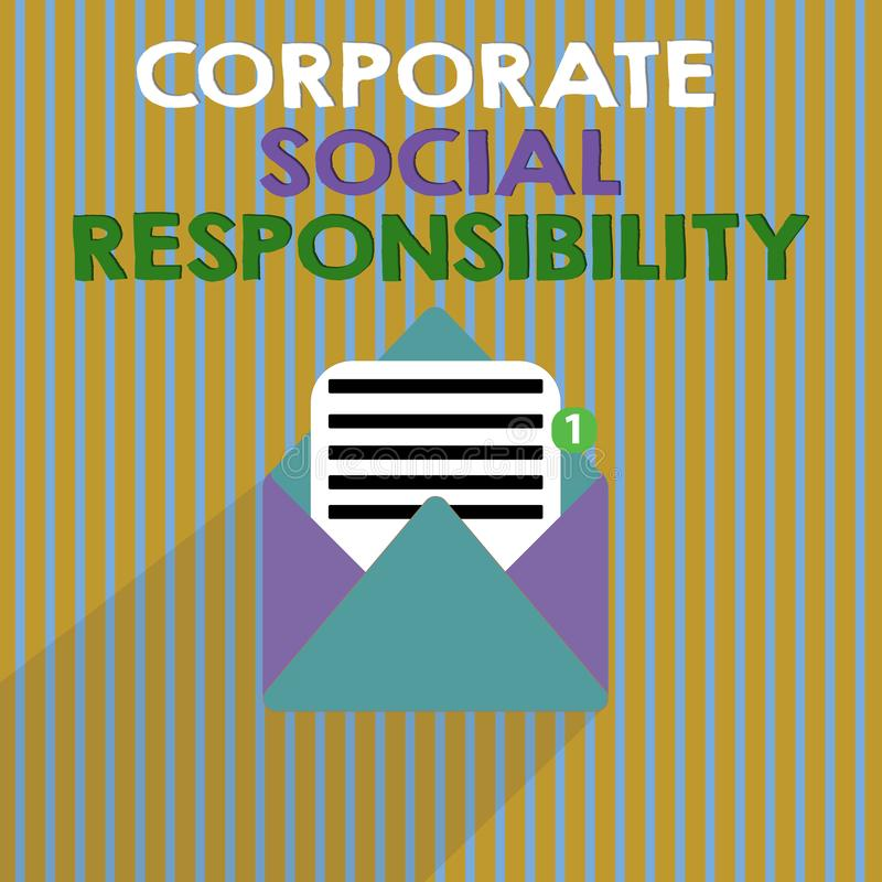Word writing text Corporate Social Responsibility. Business concept for Internal corporate policy and Ethic strategy.  royalty free illustration