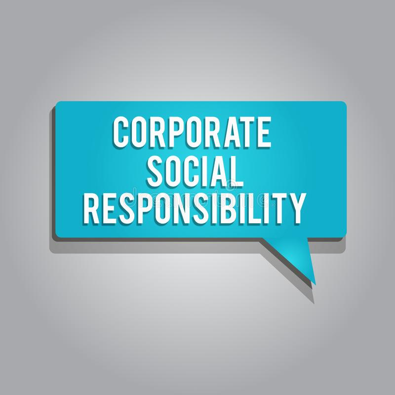 Word writing text Corporate Social Responsibility. Business concept for Internal corporate policy and Ethic strategy.  stock illustration