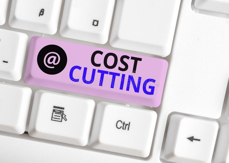 Word writing text Cost Cutting. Business concept for actions taken to reduce the amount that is spent on a service White. Word writing text Cost Cutting royalty free stock photography