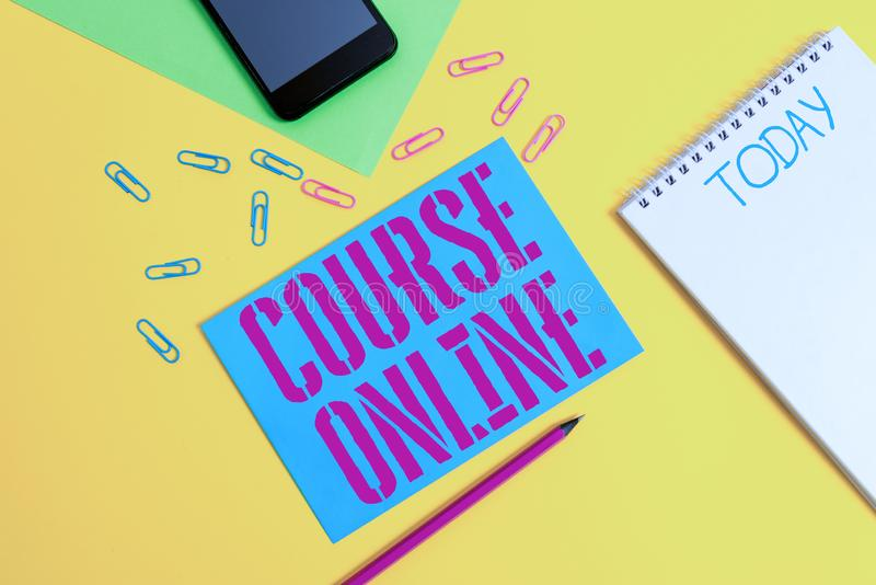 Word writing text Course Online. Business concept for eLearning Electronic Education Distant Study Digital Class Blank. Word writing text Course Online. Business royalty free stock photos