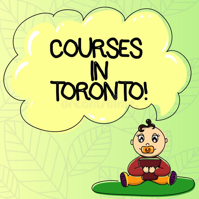 Word writing text Courses In Toronto. Business concept for direction or routes between near or far places in Canda Baby. Sitting on Rug with Pacifier Book and royalty free illustration
